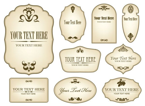 Free Decorative Label Templates Simple bottle label 01 Vector