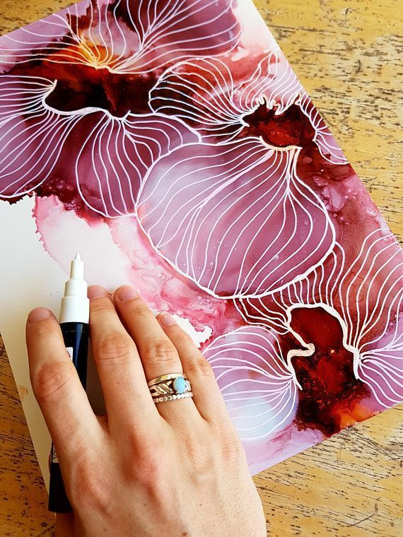 Pink Flower Painting, Colourful Art, Alcohol Ink Painting, Alcohol Ink Art, Original Art, Abstract Flora Painting, Wall Art, Gifts for Her