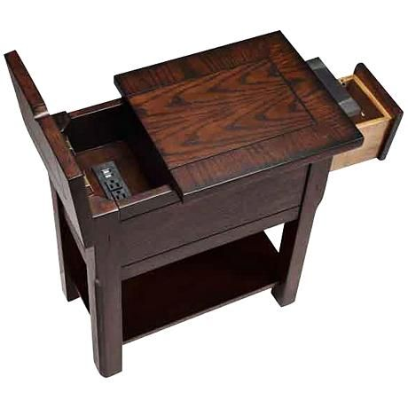 Sutersville Rustic Oak Side Table With Outlets And Usb Ports Oak