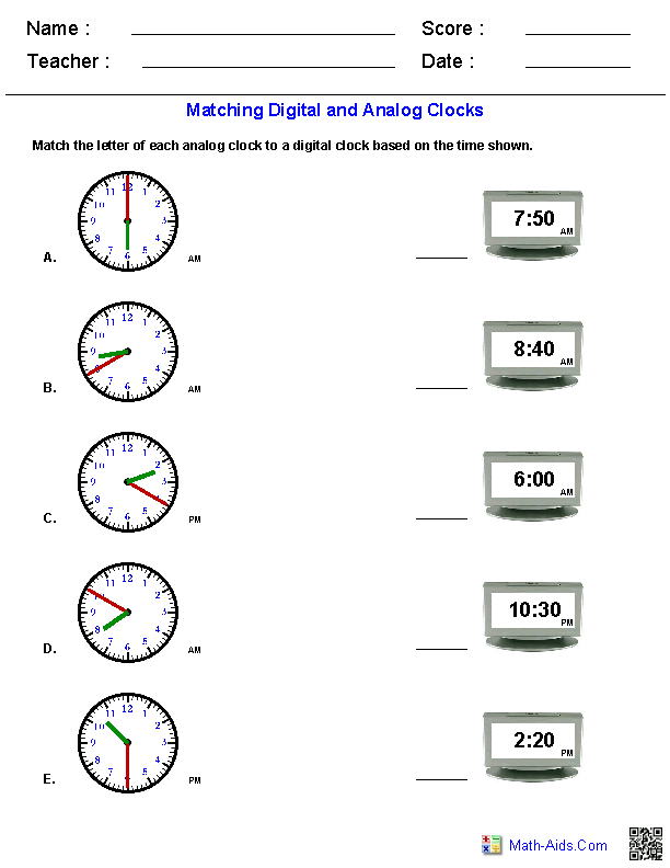 matching analog and digital clocks worksheets math aids com pinterest clock worksheets. Black Bedroom Furniture Sets. Home Design Ideas