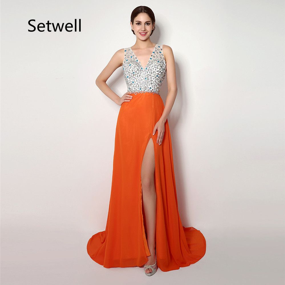 Free shipping buy best setwell sexy vneck backless evening dresses
