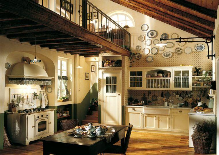 maison cuisine style ancien design idée rétro table en bois déco ...