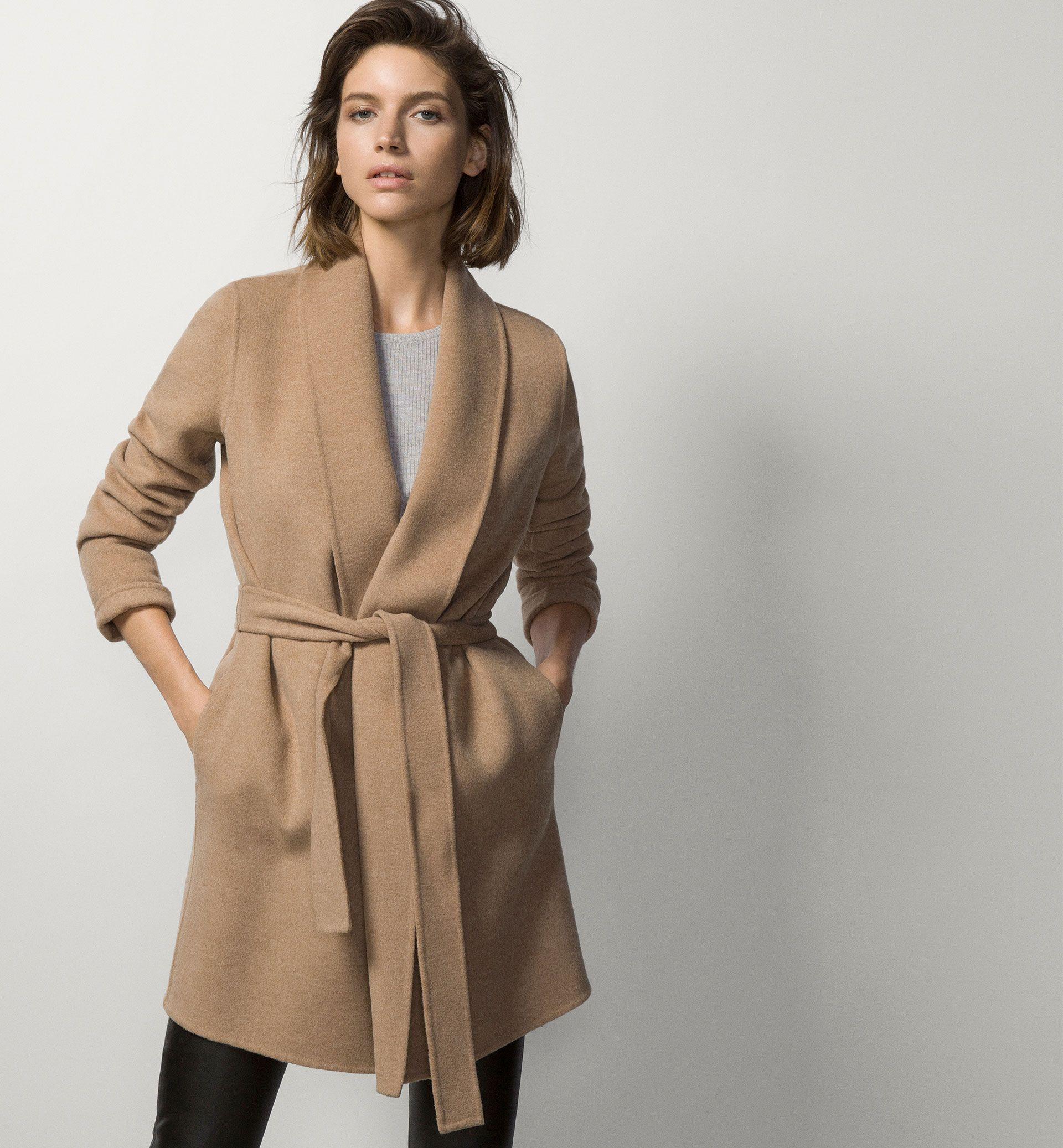 COAT WITH BELT - Coats - WOMEN - United States - Massimo Dutti