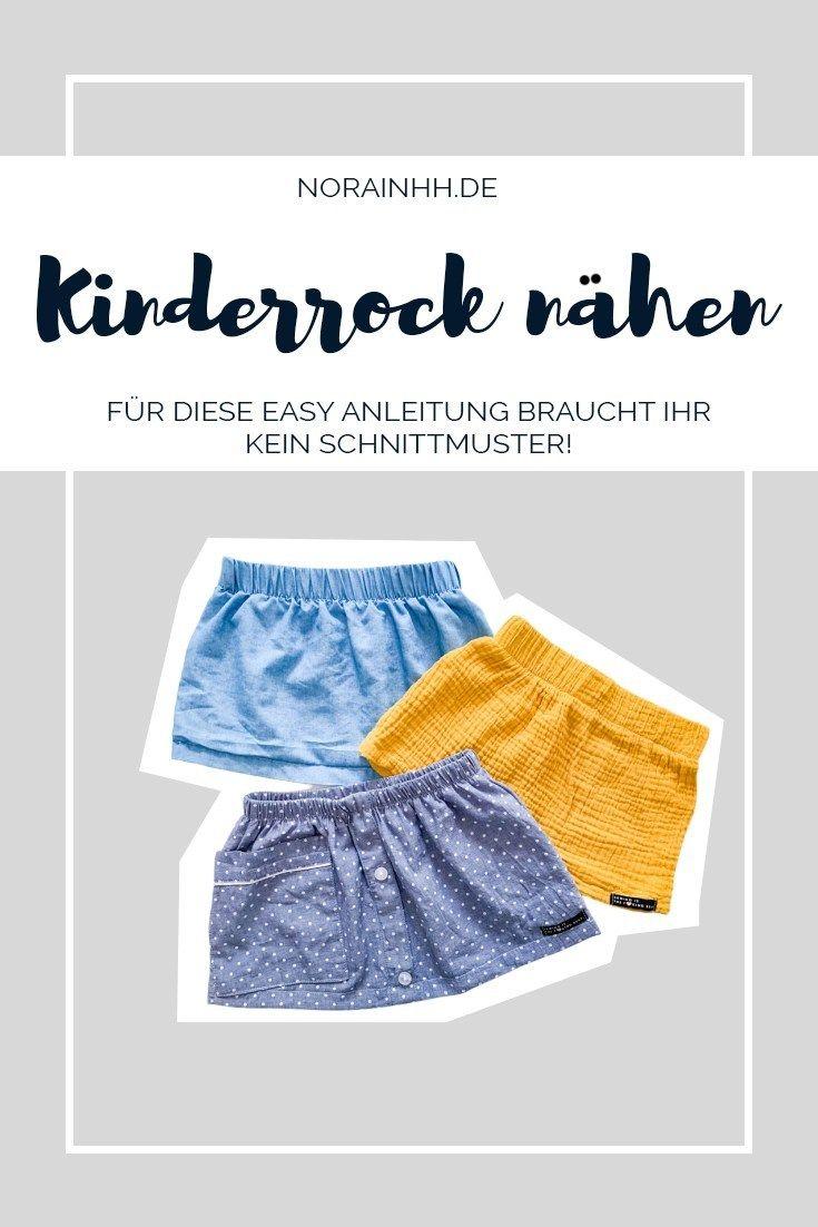 Kinderrock nähen ohne Schnittmuster - einfacher gehts nicht | norainhh.de