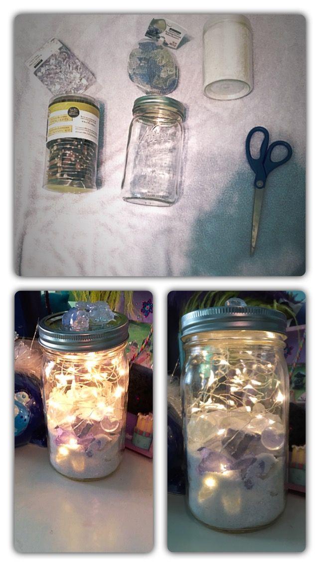 Fairy jar! Ocean theme.  White sand, fairy lights, blue/white crystal rocks, gems, and hot glue!