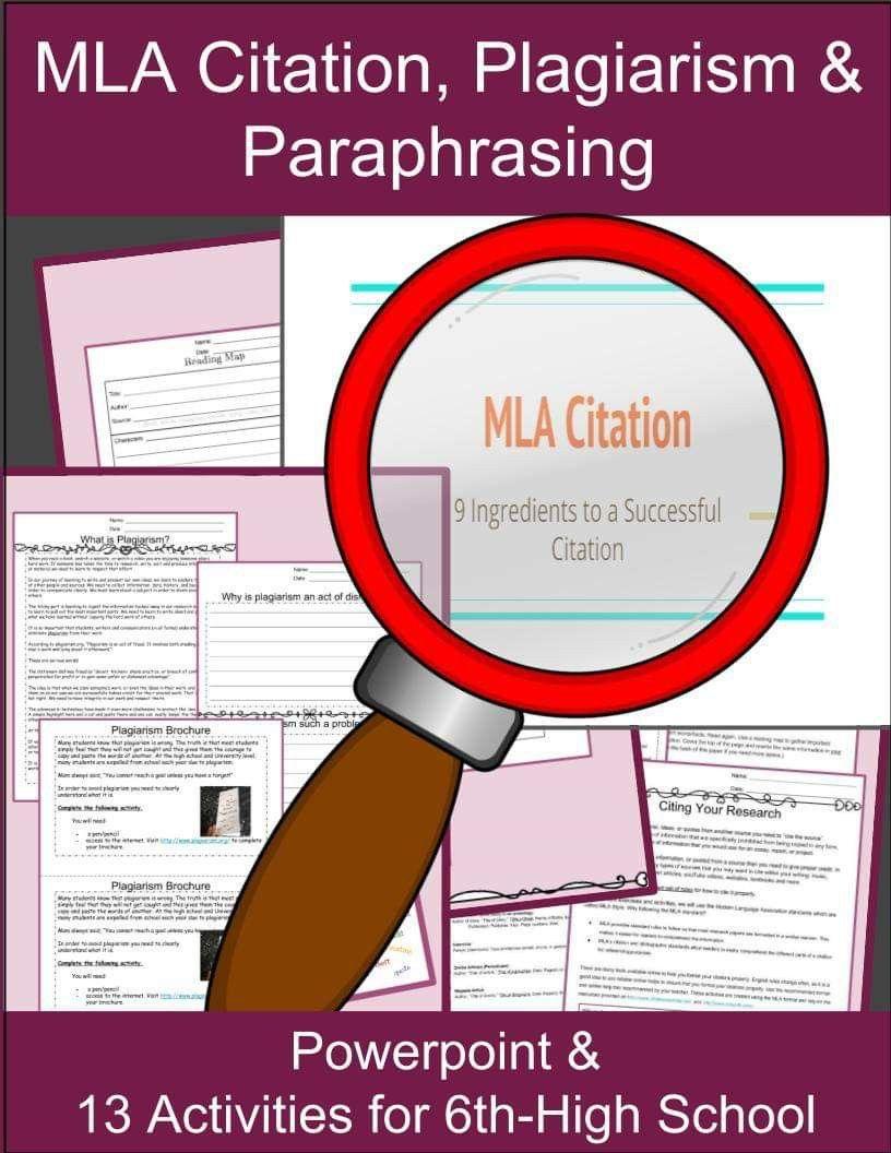 Mla Format Citation Lessons Mla Citation Mla Format Mla Citation Practice