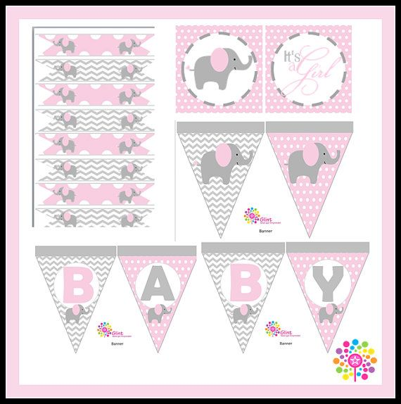 Kit imprimible para Baby Shower Elefante Niña por IdeasGlint