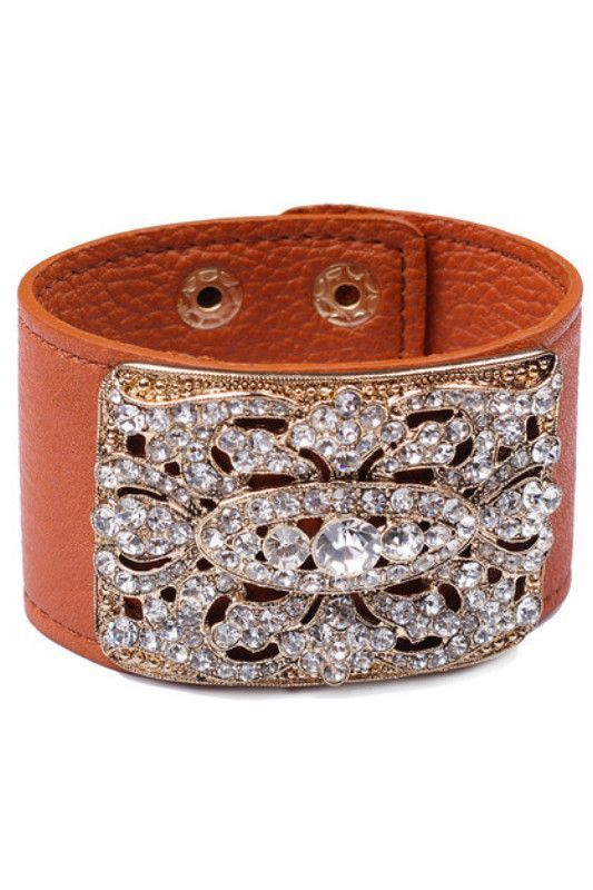 Leather Bracelet with Crystal Detail