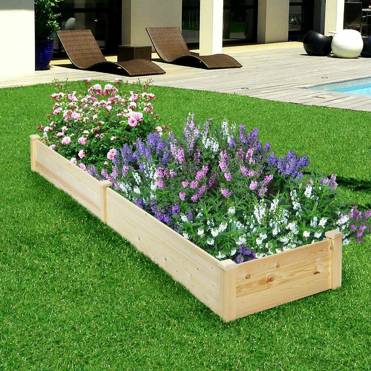 Raised Flowers Vegetables Garden Wooden Planter Box (With