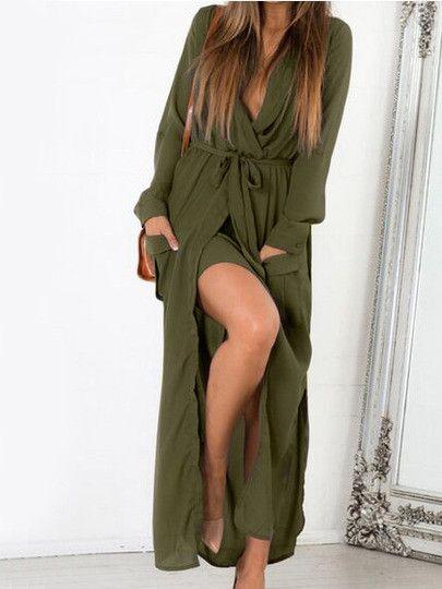 Green Deep V Neck Self-Tie Pockets Chiffon Dress