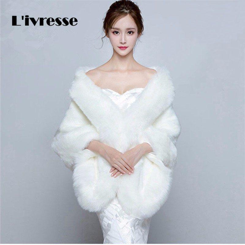 Photo of Wedding Faux Fur Coat Free Size Bridal Wraps Bolero Brid …