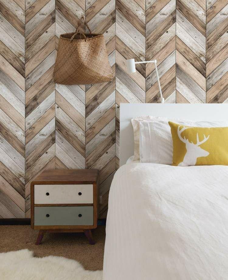 Wanddeko Holz Nuancen Schlafzimmer Wandgestaltung Mit Fischgratmuster Holzwandgestaltung Holzplanken Wande Fischgraten Wand