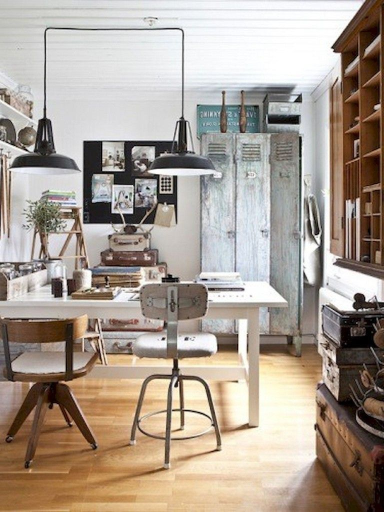 15 Cozy Vintage Home Office Room Ideas Decoration Duvar Dekorasyon
