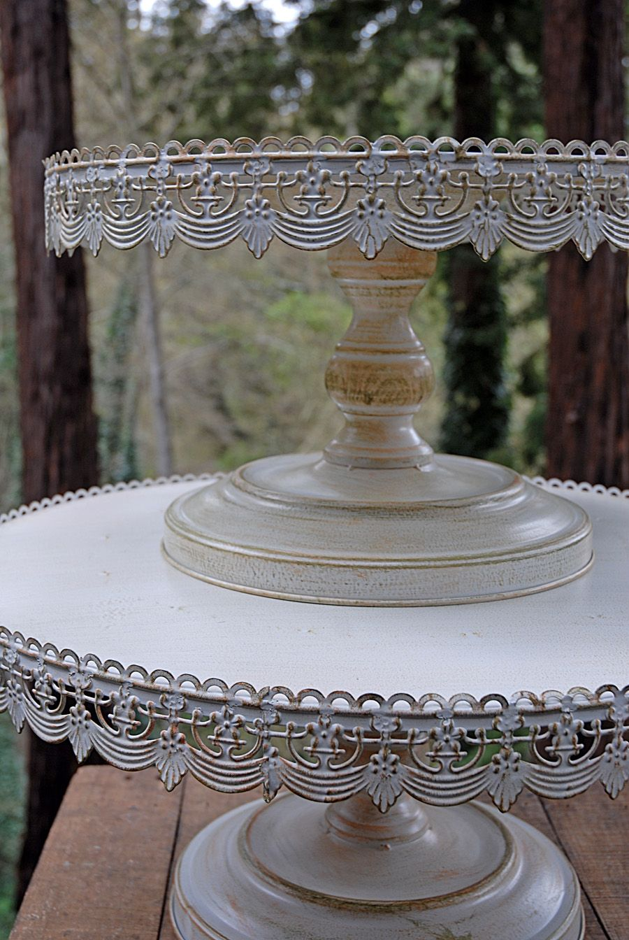 Vintage Metal Cake Stand White 22in Wedding cake stands