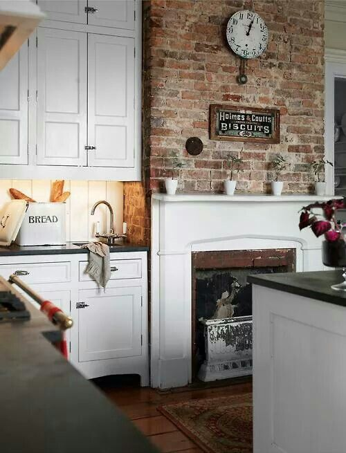 Love The Exposed Brick Fireplace Kitchen Layout Kitchen