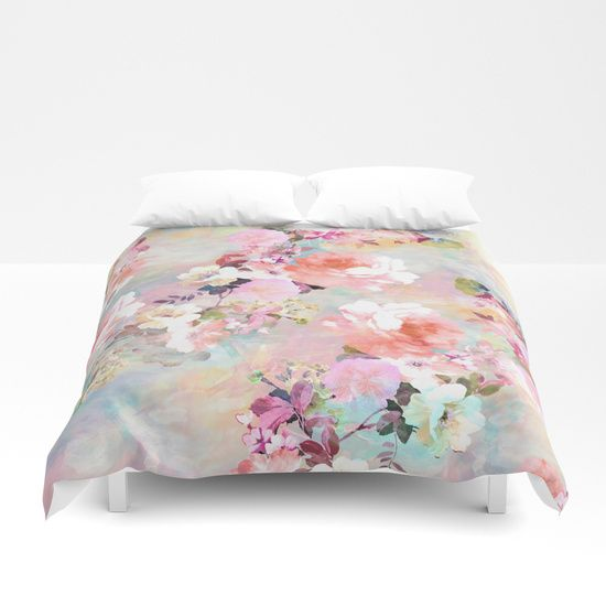 Romantic Pink Teal Watercolor Chic Floral Pattern A Girly Elegant And Chic Floral Pattern Featuring Beautiful Flower Comforter Comforters Unique Comforters