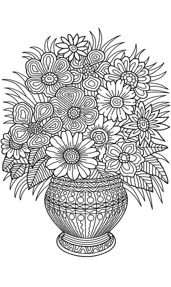 Delightful Flower Vase Coloring Page | Coloring Pages For Grown Ups :: Coloring Pages  For Adults | Pinterest | Flower Vases, Flower And Adult Coloring