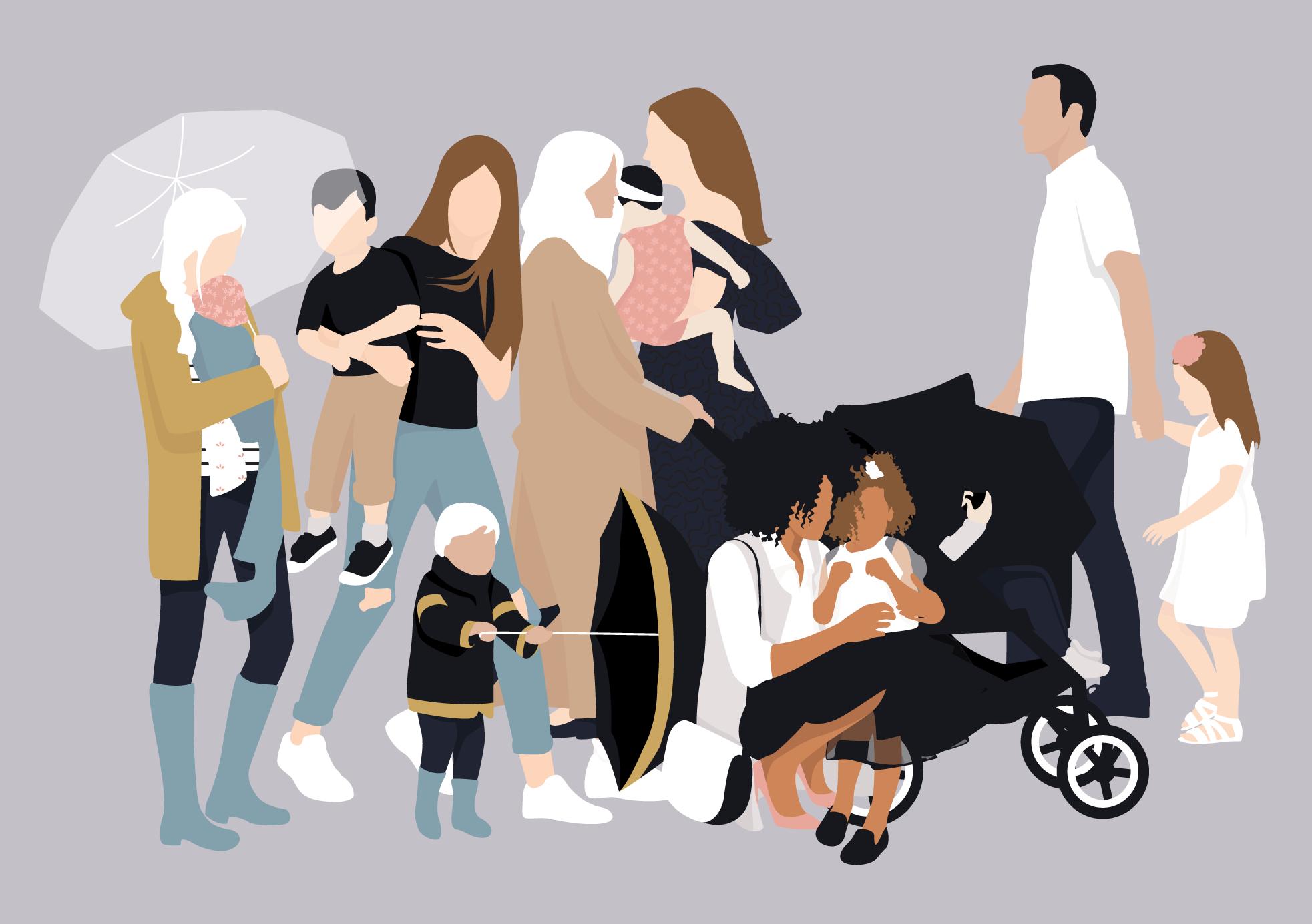Flat Vector Families Illustrations in 2020 Vector