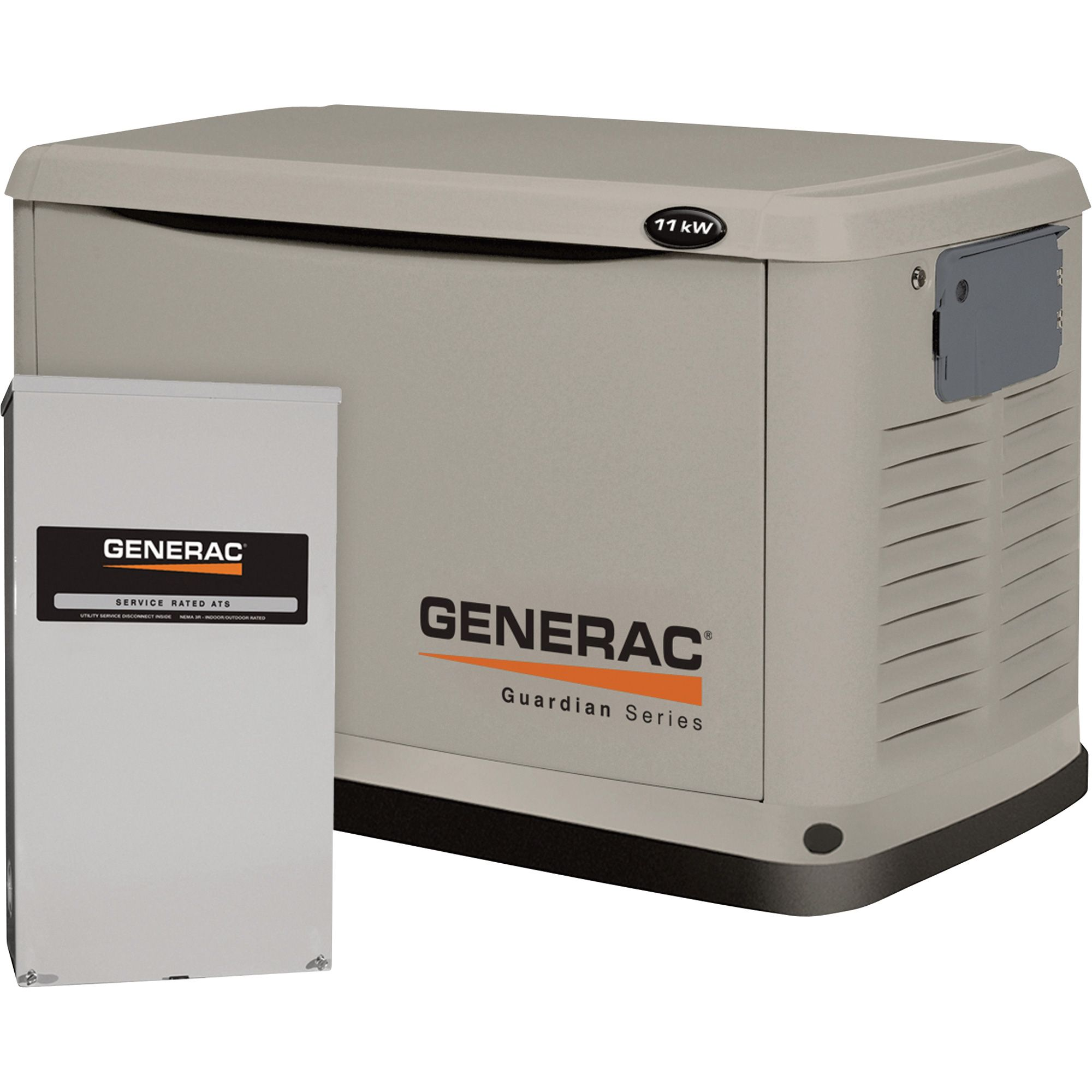 free shipping generac guardian air cooled standby generator 11kw lp 10kw ng 200 amp service rated smart switch model 6438 residential standby  [ 2000 x 2000 Pixel ]