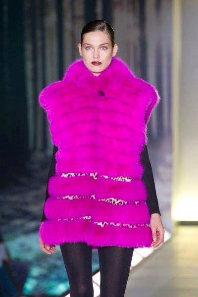 Pink fox vest with pony details.. Designed by Filareti Kirou for KN-Furs International Fur Fair of Athens 2012