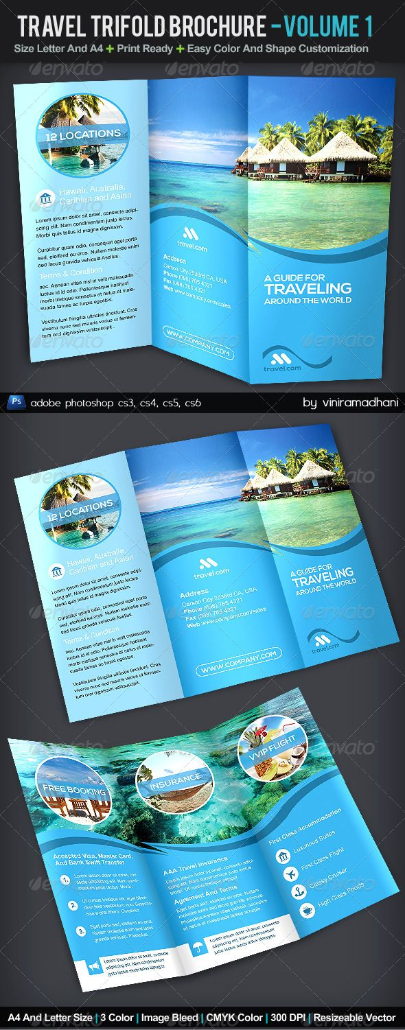 Travel trifold brochure volume 1 adobe photoshop for Travel brochures templates