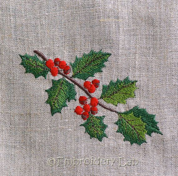 Christmas Holly Machine Embroidery Designd ornament
