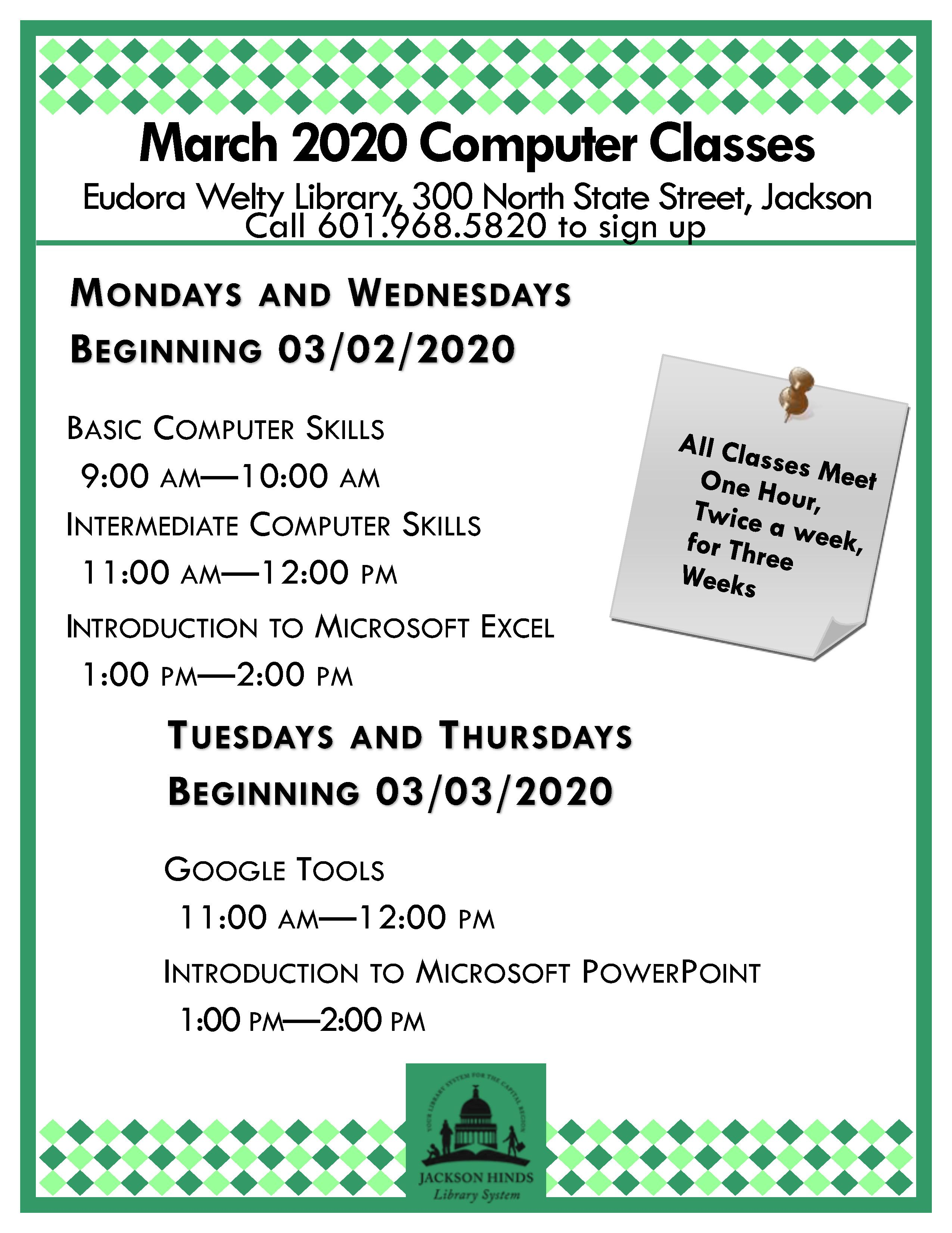 Registration Is Now Open For March 2020 Computer Classes At Eudora Welty Library These Free Classes For Ad Computer Class Register For Classes Computer Skills How to open excel read only