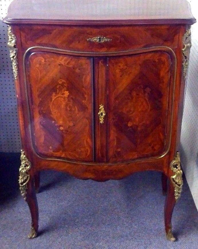 Antique French Louis XV Marquetry Cabinet. Inlay. Ormolu. Mahogany. 1900. #