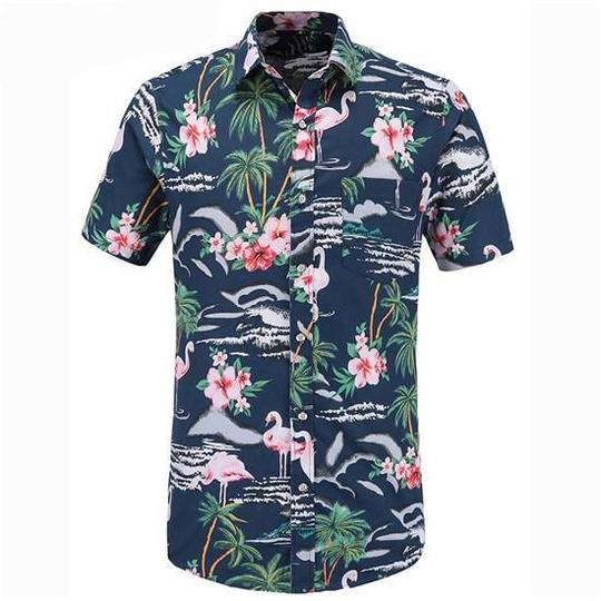 Mens Hawaiian Flamingo Print Shirt,Casual Short Sleeve Button Down Stand Collar Beach Loose Fit Tops Blouse