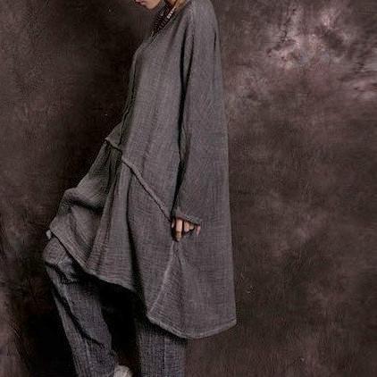 bb748ac382 Sand Washed Cotton Linen Drop Waist Dress