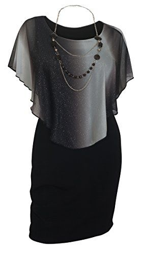 ca24c1a34bc eVogues Plus Size Layered Poncho Dress Glitter Gray 1X   Continue to the  product at the image link.
