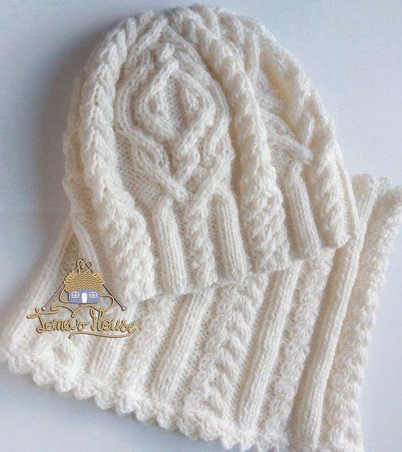 Aran Knitting Women Winter Hat And Scarf Set Chunky Knit Hat Snood