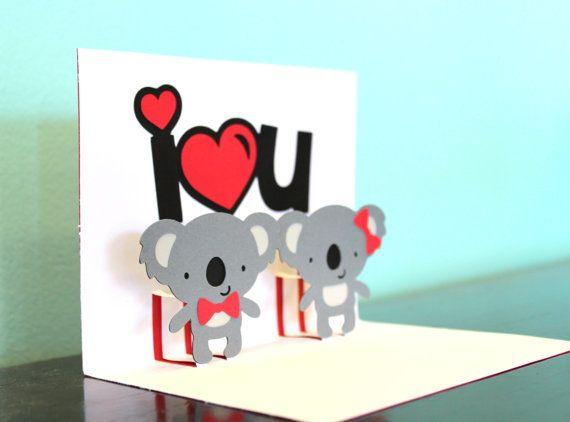 Koala Pop Up Card Pop Up Koala Card I 3 U Koala Card Etsy Kids Room Art Hello Kitty Images Cards