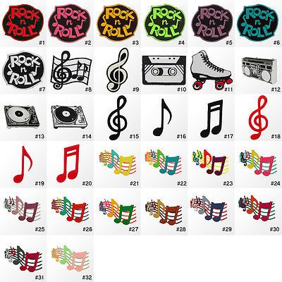 1054ir Musical Music Note Symbol Embroidered Sew Iron On Patch