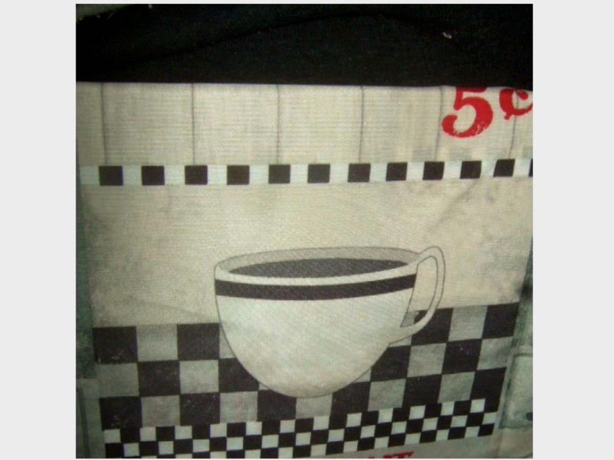 Diner Coffee Cups Kitchen Curtains Set Grommets Retro Look ...
