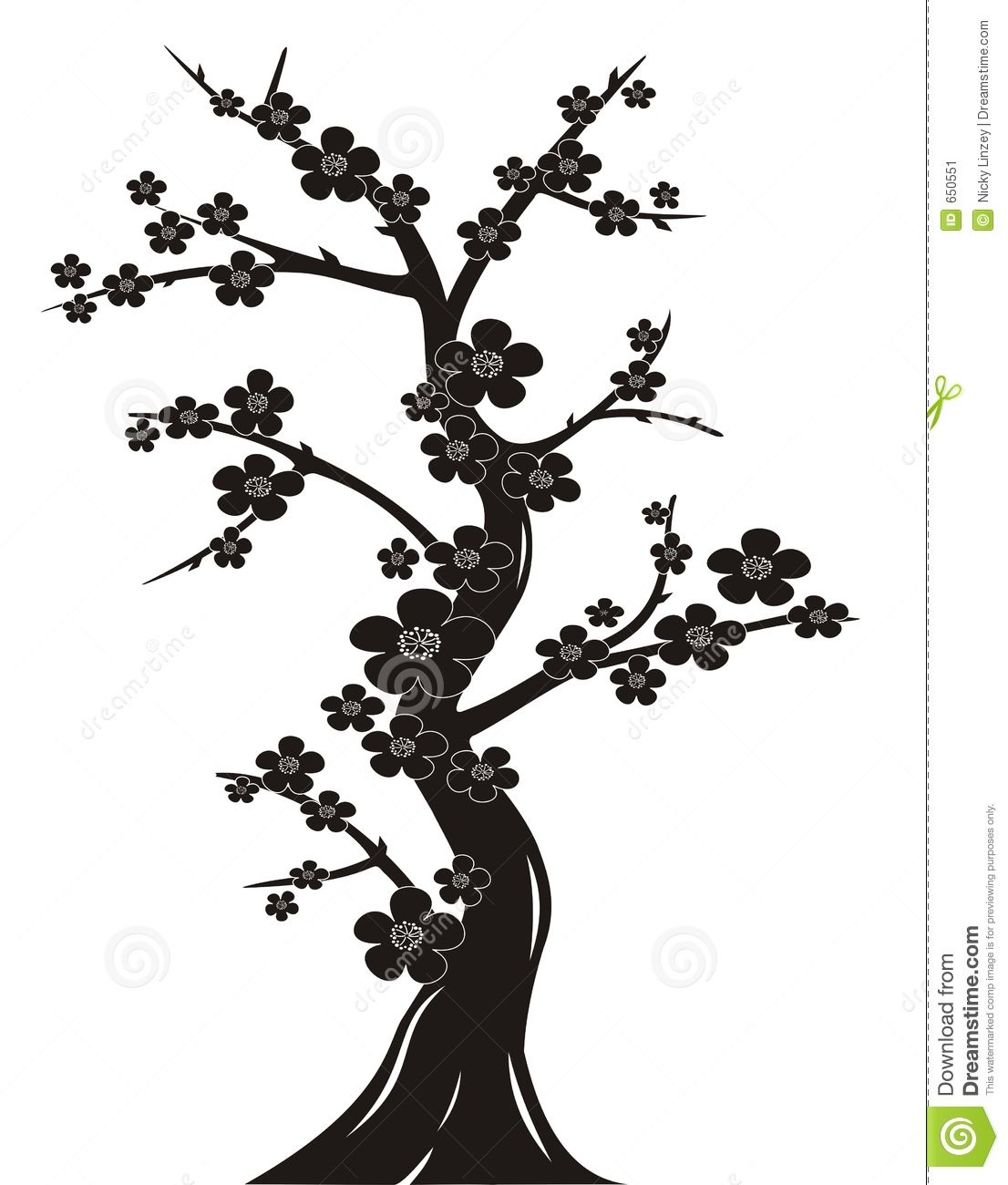 Black And White Silhouette Illustration Of Japanese Style Cherry ...