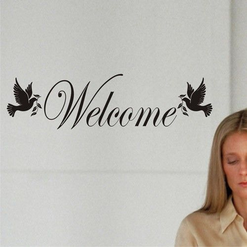 WELCOME Door Wall Sign with 2 doves Wall Decal Art Sticker. Welcome friends  and family