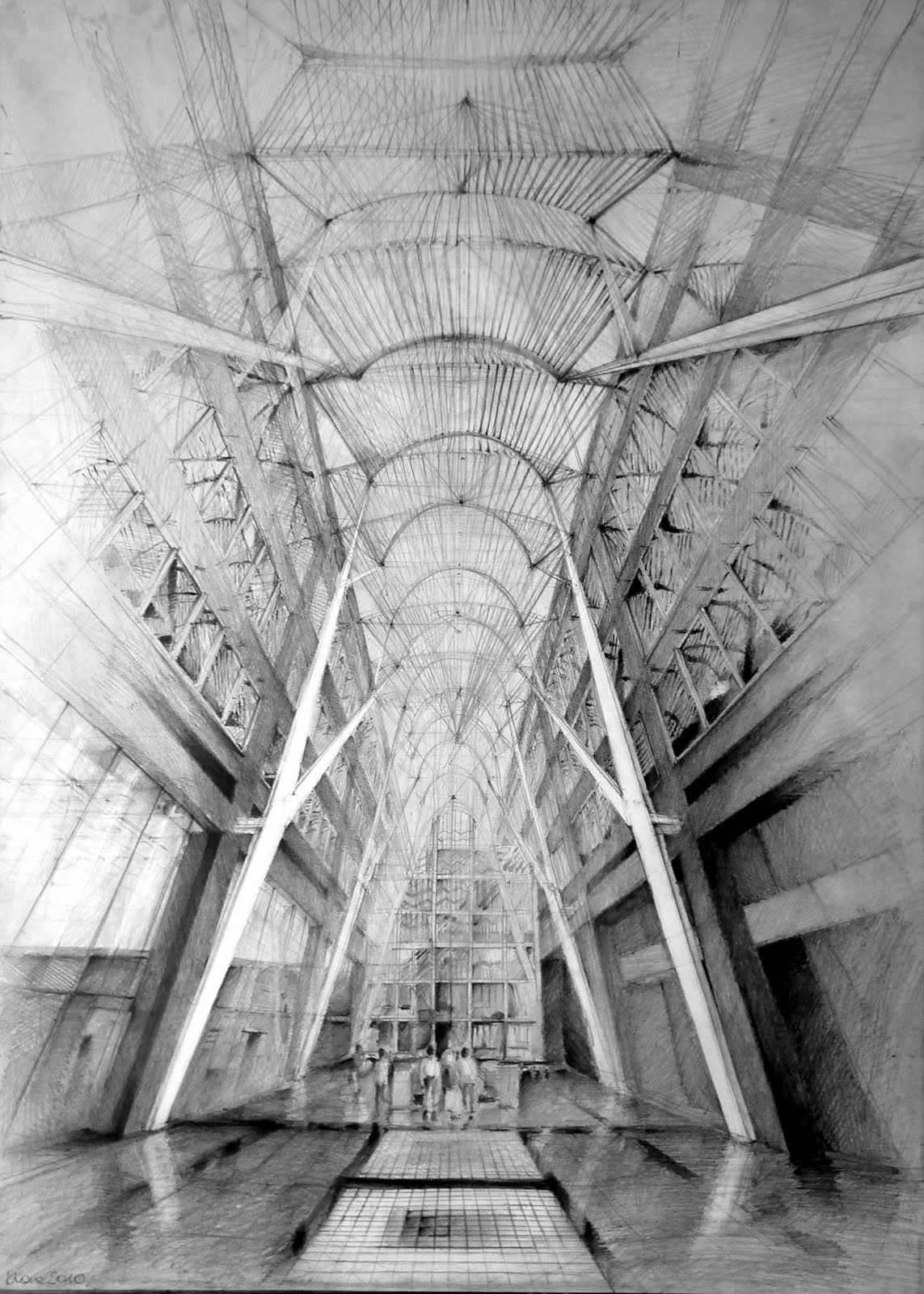 Architecture Drawing Pencil architect santiago calatrava, allen lambert galleria, toronto