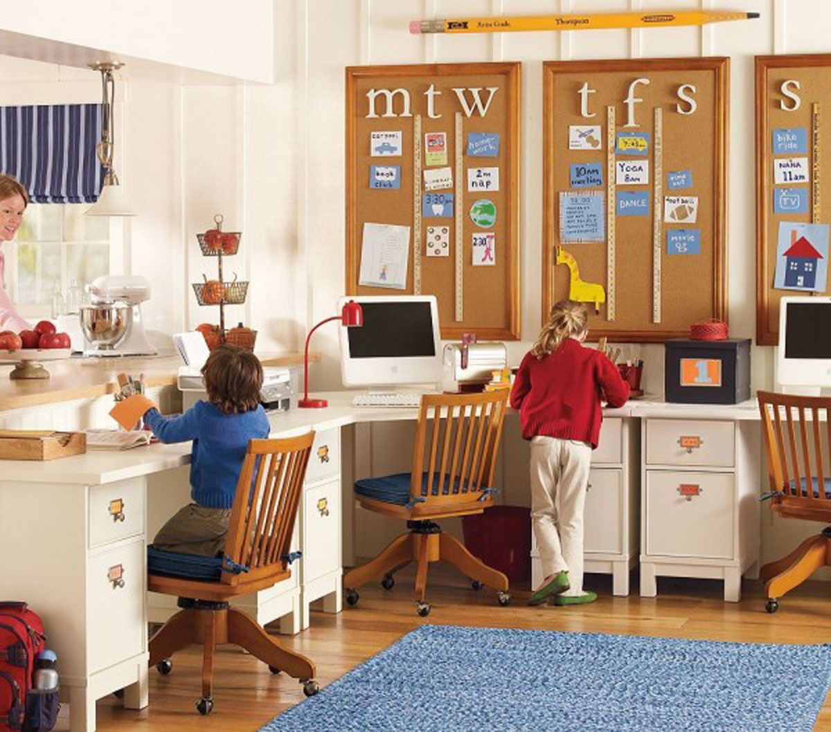 Charming Study Desks Funiture Shared For Kids With Board Ideas   Kids  Bedroom | Stupic. Part 48
