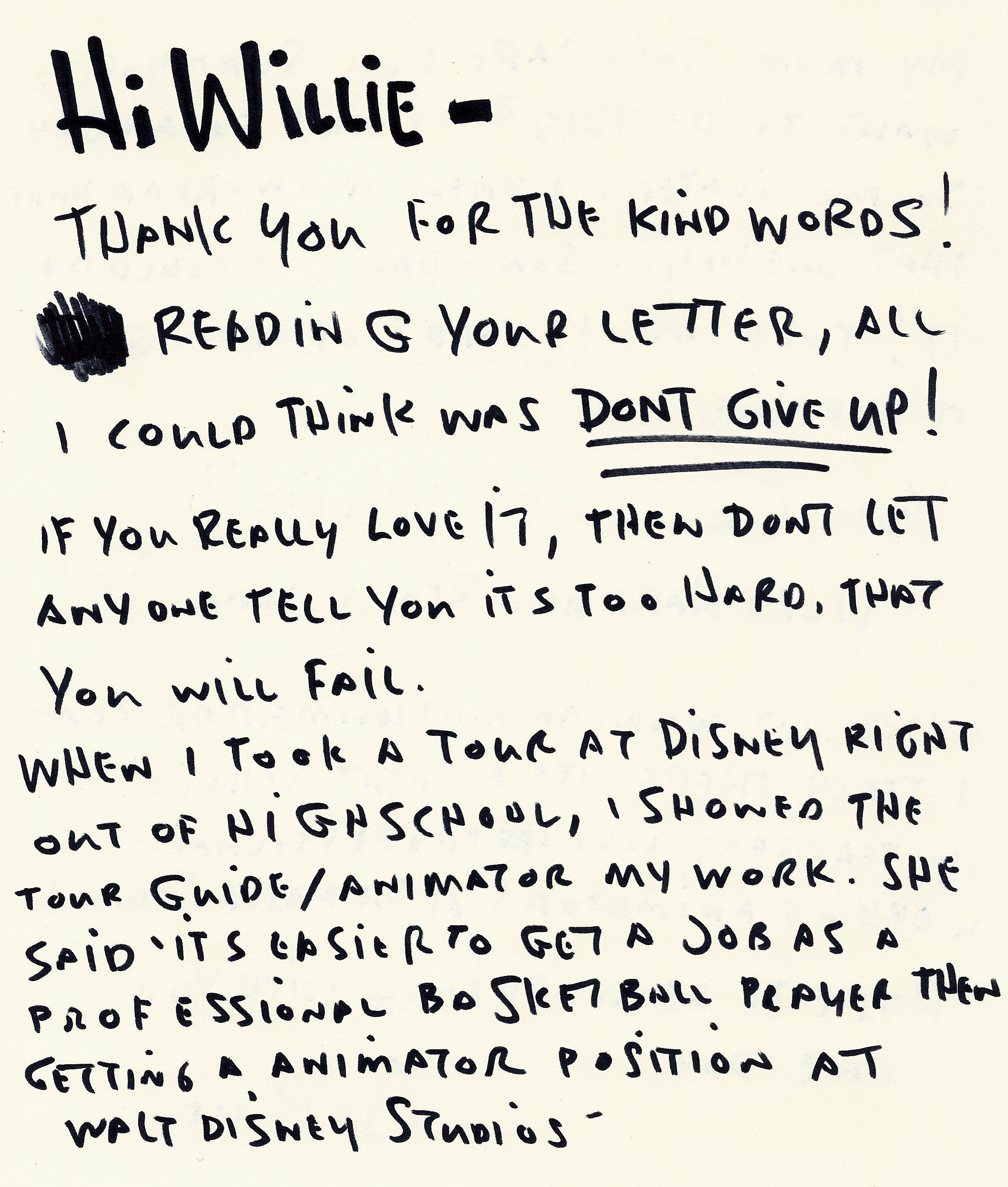 Encouraging letter pg 2 of 2 written by Pixar animator Aaron – Encouragement Letter Template