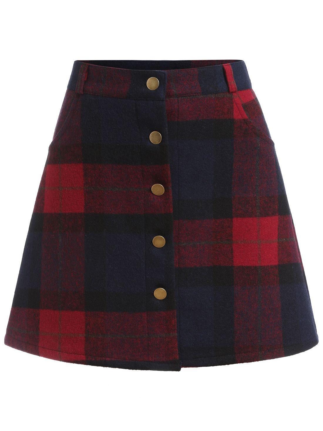 e8e9d887a falda línea A una fila de botón cuadrado | Cosas que me encantan ...