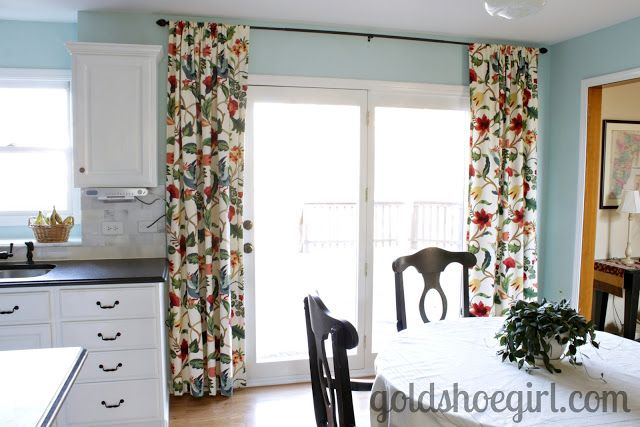 Like The Idea Of Hanging Curtains Above French Doors Out To Screened In Porch Kitchen Patio Doors Kitchen Sliding Doors Kitchen Curtains