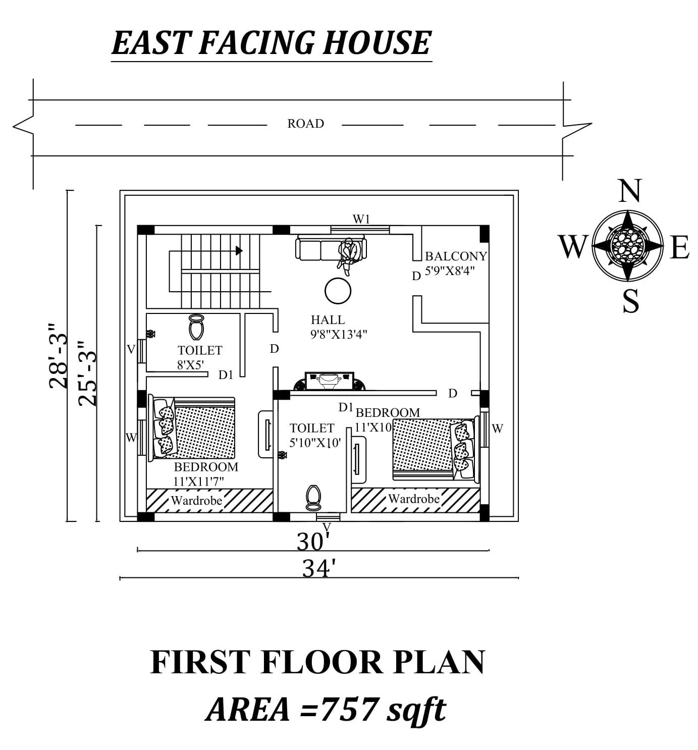 34 X28 3 First Floor East Facing House Plan As Per Vastu Shastra Autocad Dwg And Pdf File Details How To Plan My House Plans Autocad