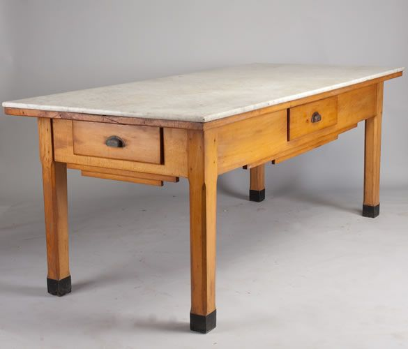 Patisserie Table From The Art Deco Period Once In A Bakery Villefranche Sur Saone Beaujolais Region It S Made Of Solid Beech Wood With Marble