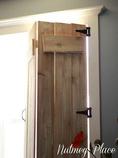 Nutmeg Place: DIY Indoor Window Shuttersu2026I LOVE This Idea For The  Cabinu2026maybe One Day. Would Be Cool To Have Instead Of Curtains.