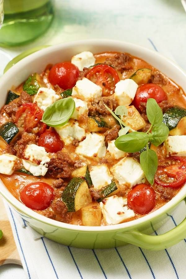 Photo of Delicious zucchini bake with minced meat, tomatoes & feta