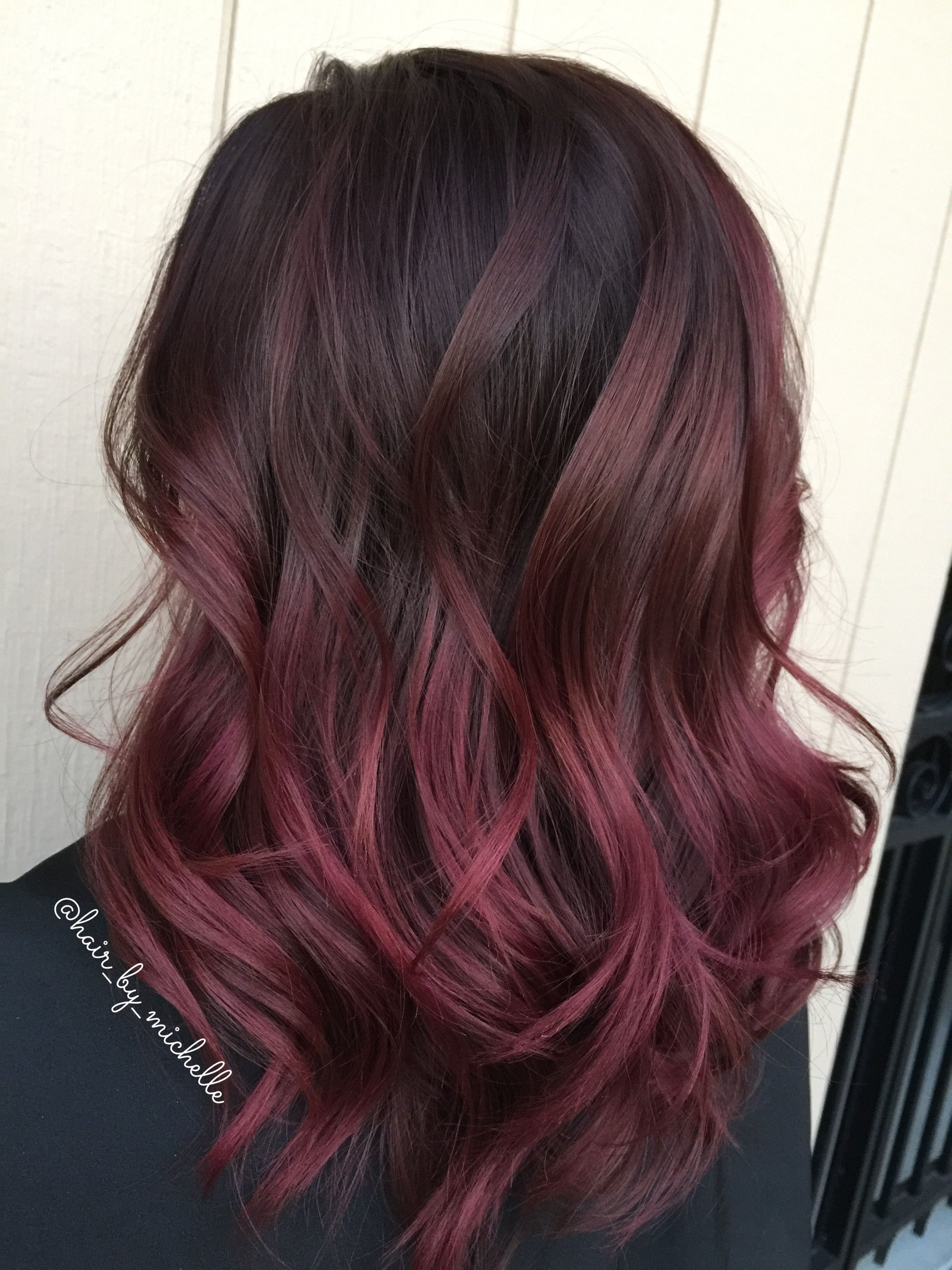 Dark Hair Red Hair Painted Hair Red Ombre Hair Brunette Hair Color Red Balayage Hair