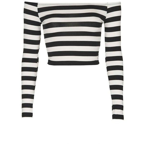 a6226c19752ff4 Topshop Stripe Off the Shoulder Top ( 38) ❤ liked on Polyvore featuring tops