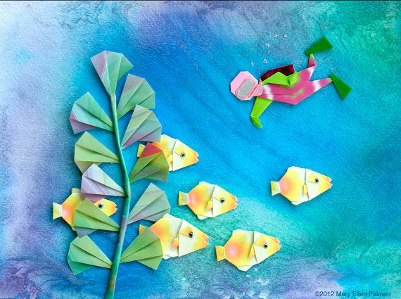 Underwater Scuba Diver Origami Mixed Media Painting