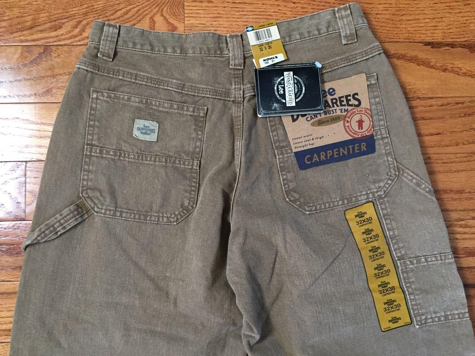 27cb158a NEW Mens Lee Dungarees Carpenter Jeans Pants Straight Leg Brown Tan 32 x 30